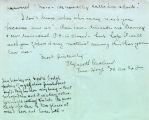 Cleveland, Elizabeth -- Letter